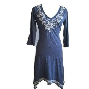 Johnny Was Blue Embroidered Jersey dress S